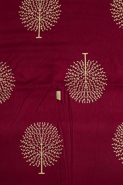 Maroon Tree Printed Rayon Fabric