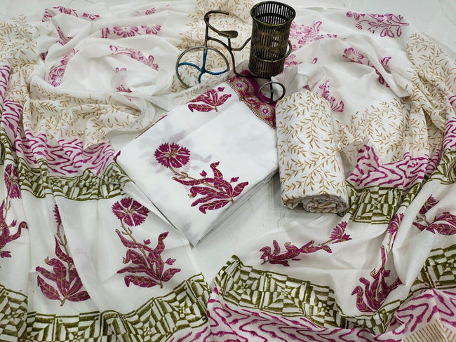 Off White Flower Print Cotton Suit Set with Mul Cotton Duppatta