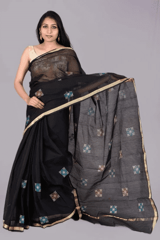 Black Square Embroidery Kota Doria Saree