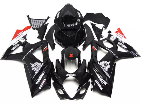 Black 2007-2008 Suzuki GSX-R 1000 K7 Fairings