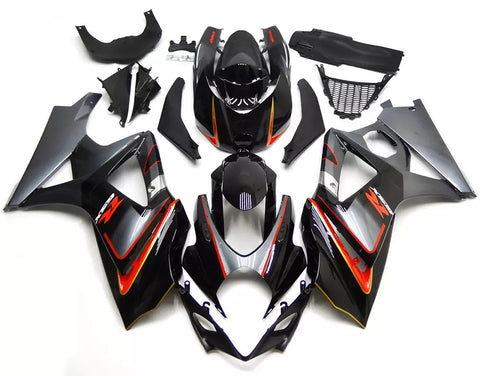 Black, Gray & Orange 2007-2008 Suzuki GSX-R 1000 K7 Fairings