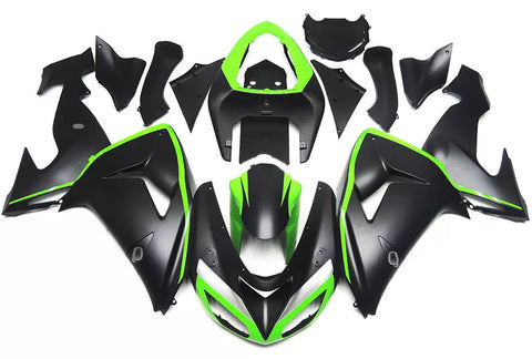 Black & Green 2006-2007 Kawasaki ZX-10R - Wicked Fairings