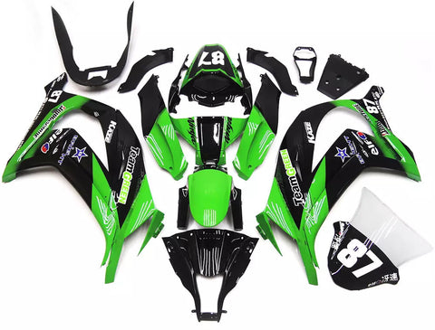 Black & Green 2011-2015 Kawasaki ZX-10R - Wicked Fairings