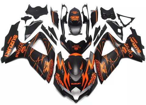 Black & Orange Corona 2008-2010 Suzuki GSX-R 600/750 K8 - Wicked Fairings