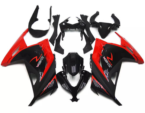Black & Red 2013-2015 Kawasaki Ninja 300 - Wicked Fairings