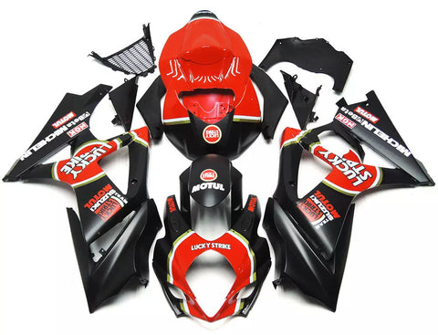 Black & Red Lucky Strike 2007-2008 Suzuki GSX-R 1000 K7 - Wicked Fairings
