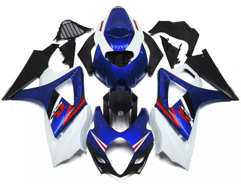 Blue, Black & White 2007-2008 Suzuki GSX-R 1000 K7 Fairings