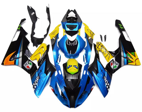 Blue, Yellow & Black Shark 2015-2017 BMW S1000RR - Wicked Fairings