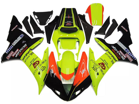Green, Orange & Black 2002-2003 Yamaha YZF-R1 - Wicked Fairings