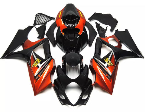 Orange & Black 2007-2008 Suzuki GSX-R 1000 K7 Fairings