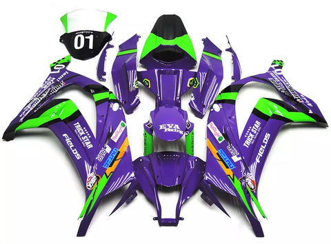 Purple & Green 2011-2015 Kawasaki ZX-10R Fairings