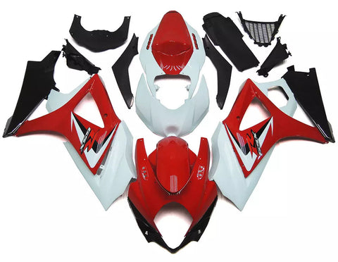 Red & White 2007-2008 Suzuki GSX-R 1000 K7 Fairings