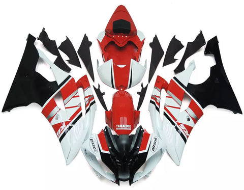 Red, White & Black 2008-2016 Yamaha YZF-R6 Fairings