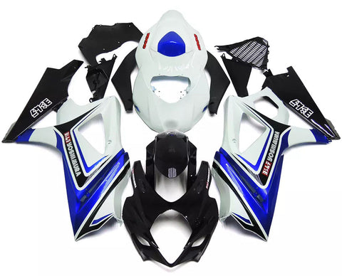 White, Black & Blue 2007-2008 Suzuki GSX-R 1000 K7 Fairings