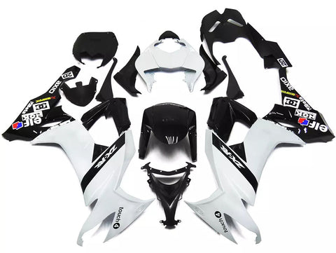 White & Black Elf 2008-2010 Kawasaki ZX-10R Fairings