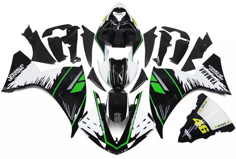 White, Black & Green 2009-2011 Yamaha YZF-R1 Fairings