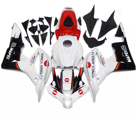 White, Red & Black 2007-2008 Honda CBR600RR Fairings