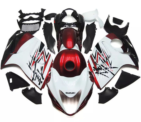 White, Red & Black 2008-2017 Suzuki GSX1300R Hayabusa Fairings