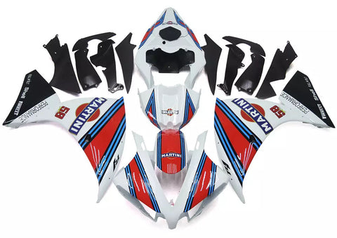 White, Red & Blue Martini 2012-2014 Yamaha YZF-R1 Fairings