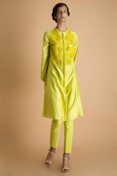 Bright - Embroidered Tunic Set in Chanderi - sakshamneharicka.com