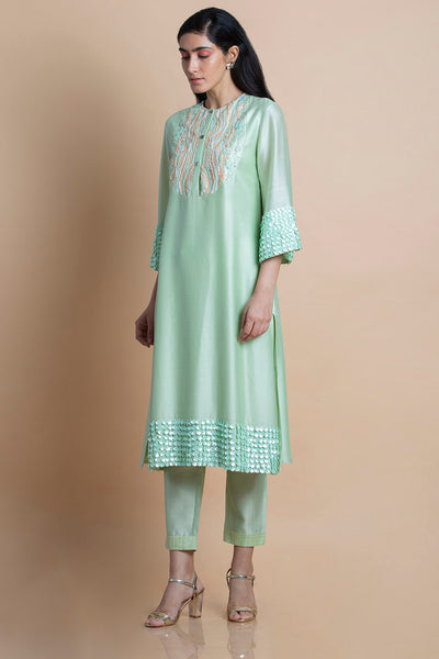Neo Mint Embroidered Tunic
