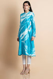 Azure Printed Kurta In Chanderi Cotton Silk