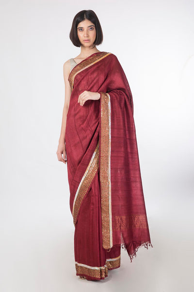 Hand Embroidered Tussar Silk Saree - sakshamneharicka.com