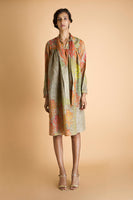 Printed Cotton Lurex Tie Collar Dress - Sage