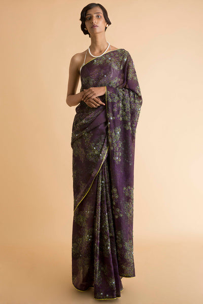Violet - Printed and Embroidered Kota Saree - sakshamneharicka.com
