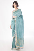 Mehr- Pastel Teal Sari- Handwoven with silk and linen Yarns - sakshamneharicka.com