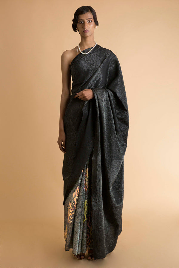 Black Printed & Signature Stripe Sari - Embroidered and Printed Saree - sakshamneharicka.com