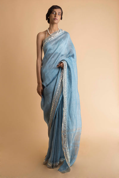 Carolina - Hand Embroidered Linen Silk Saree - sakshamneharicka.com