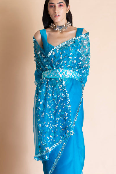Aqua Blue Belt For Saree
