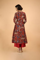 Bulbul-e-Gulstaan - Printed Layered Kurta Set in Chanderi - sakshamneharicka.com