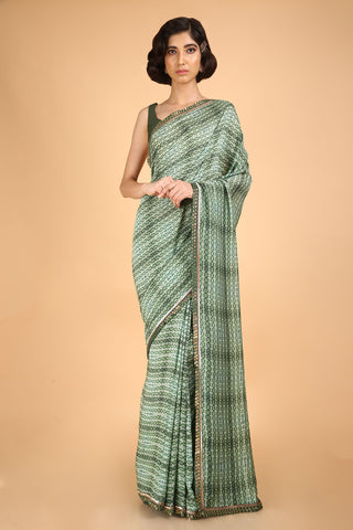 Printed and Embroidered Cotton Silk Saree - Mazed