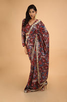 Baaz-e-Gulistaan - Printed and Hand Embroidered Saree in Chanderi - sakshamneharicka.com