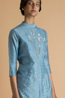 Embroidered Pastel Blue Short Kurta in Chanderi - sakshamnehricka.com