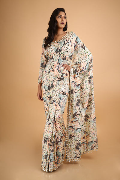 Printed and Embroidered Saree in Chanderi - sakshamneharicka.com