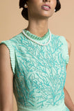 Mint Embroidered Net Gown