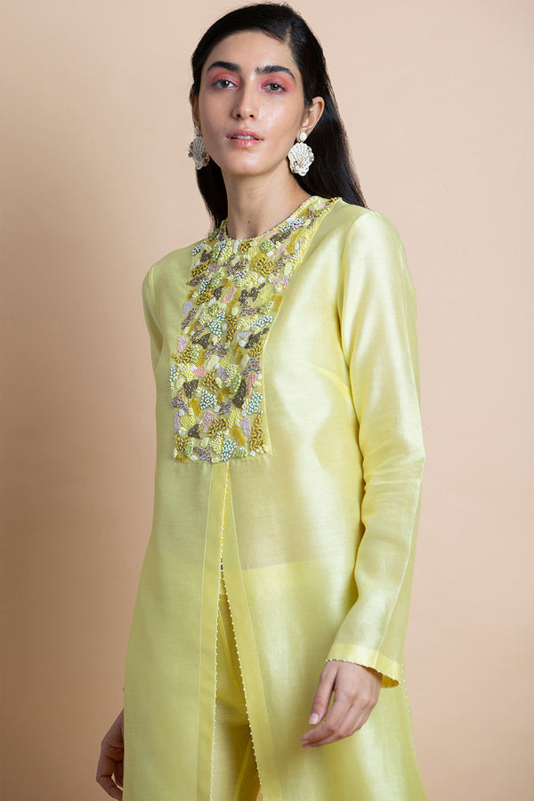 Lime Yellow Embroidered Tunic
