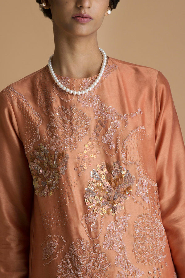 Rust Embroidered Kurta Set