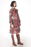 Printed Tie Collar Shirt Dress in Chanderi - sakshamneharicka.com