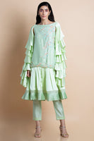 Mint Frilled Pleated Sleeve Kurta Set