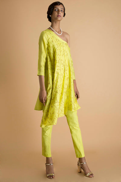 Yellow Embroidered Tunic Set