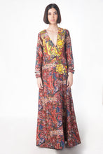 Printed and Embroidered Maxi Dress in Chanderi - sakshamneharicka.com