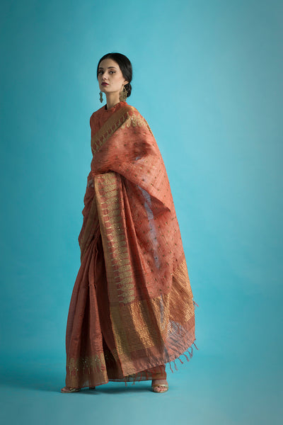 Nidhivan - Handwoven and Hand Embroidered Tussar Silk Saree - sakshamneharicka.com