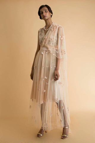 Peach Embroidered Sheer Dress