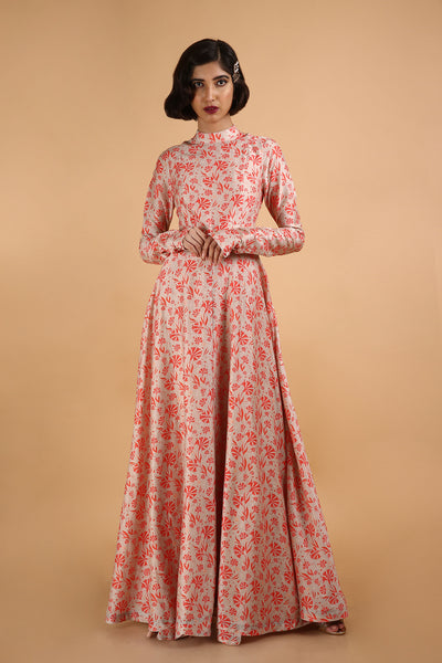 Printed Gown in Banarasi Cotton Silk - sakshamneharicka.com