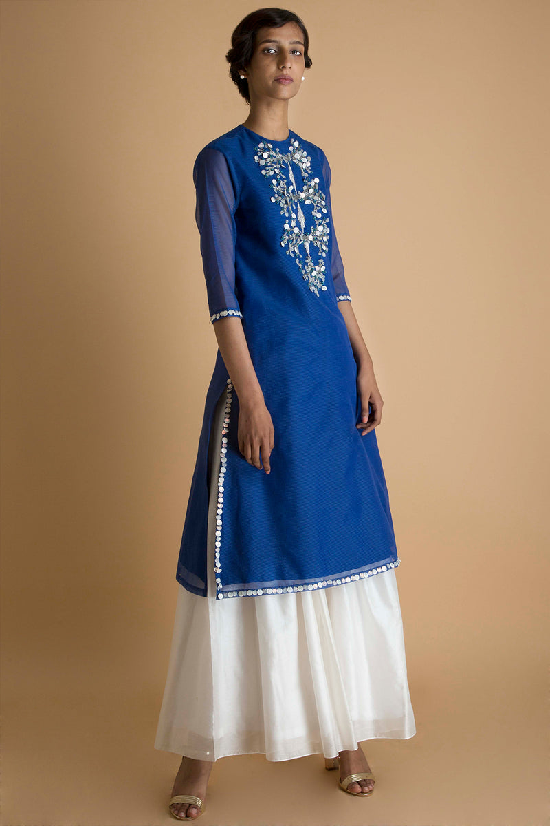 Kota Hand Embroidered Kurta Set - Ocean