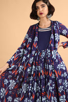 Printed and Embroidered Dress in Cotton Silk - sakshamneharicka.com